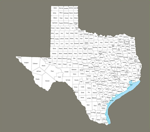 Texas, counties, map
